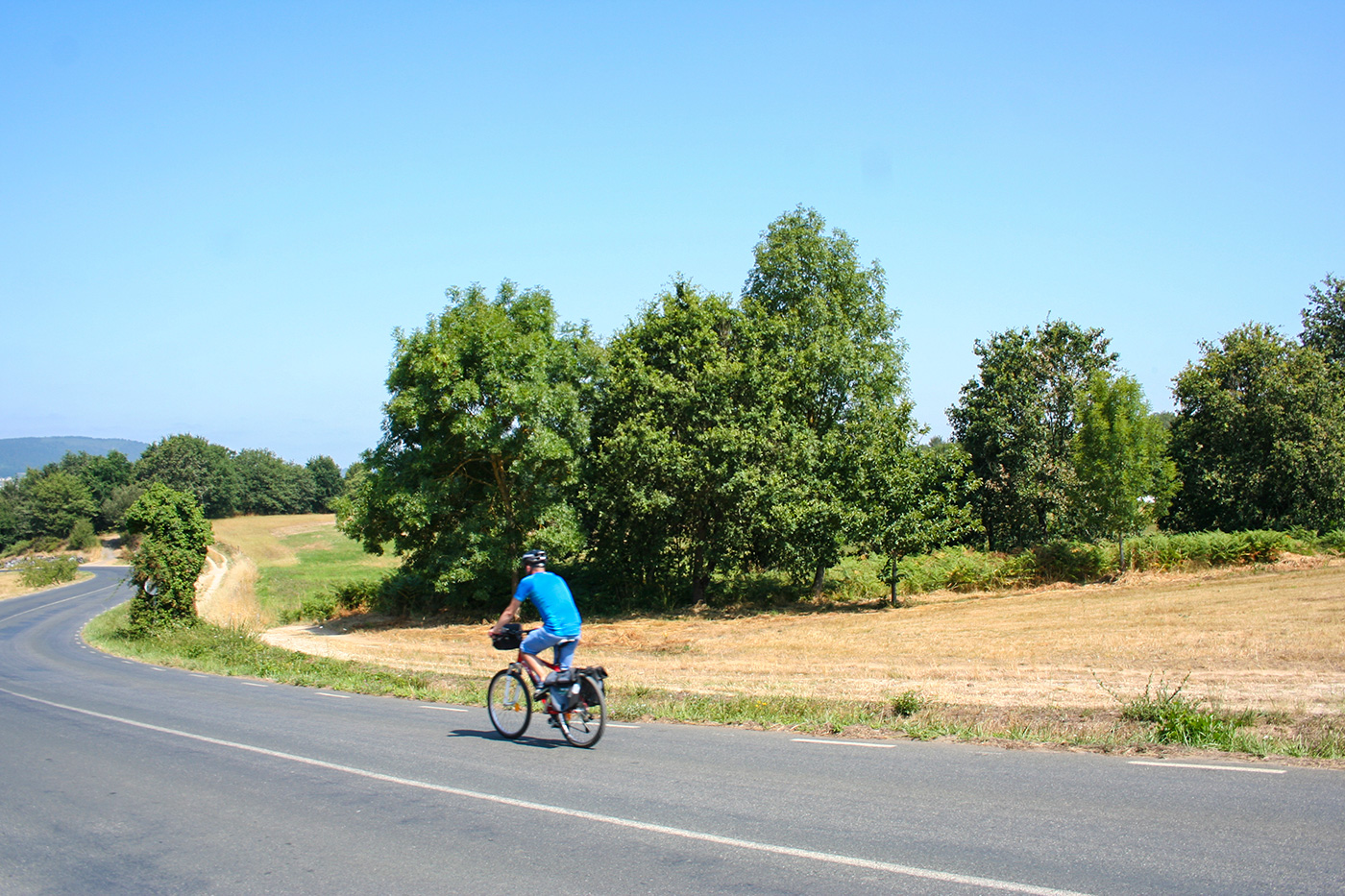 Radfahrer auf dem Jakobsweg