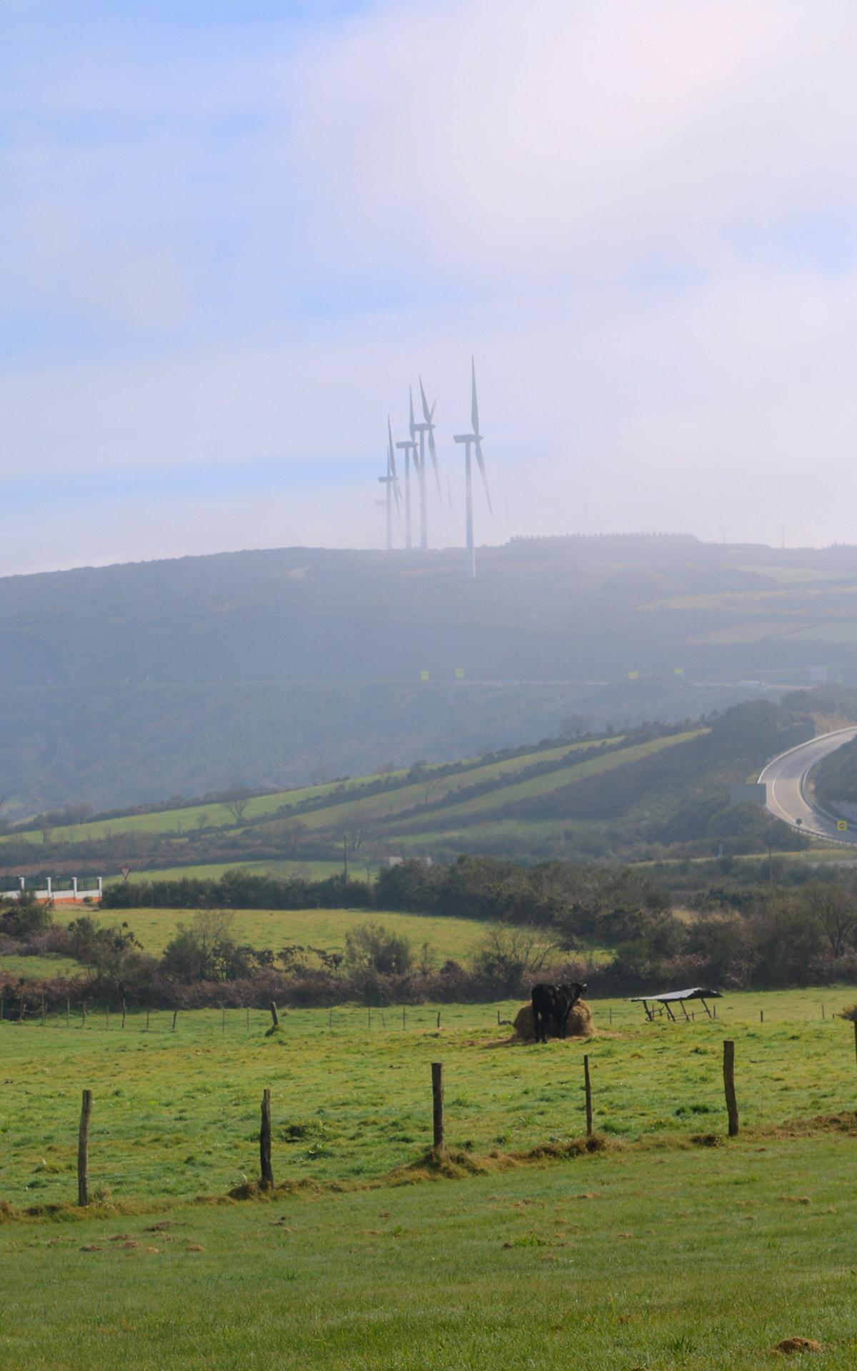 Windräder im Nebel in Galicien